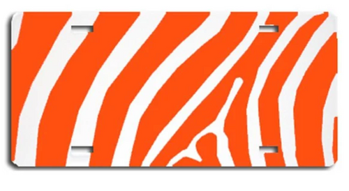 Zebra Orange LICENSE PLATES