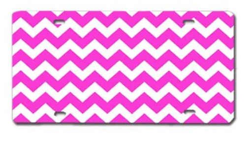 Chevron Pink LICENSE PLATE
