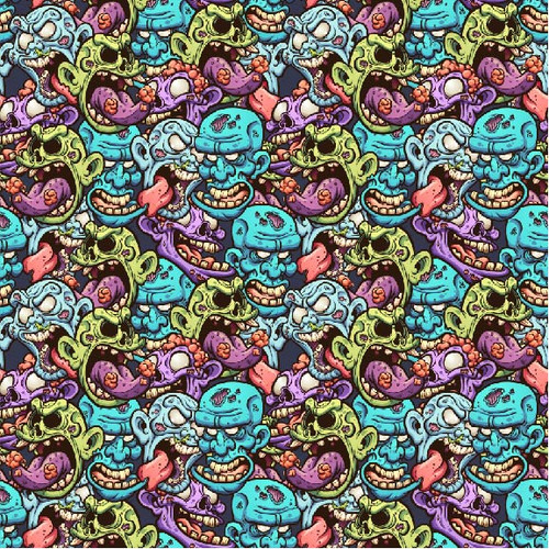 "Printed Pattern - Crazy Faces - 12"" x 12"" - Permanent Vinyl"