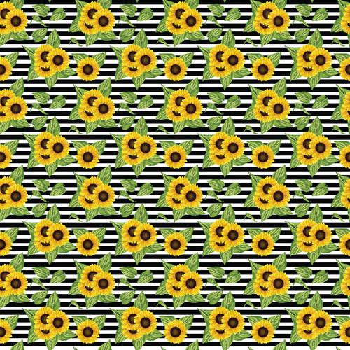 "Printed Pattern - Sunflowers w / Stripes - 12"" x 12"" - Heat Transfer Vinyl"