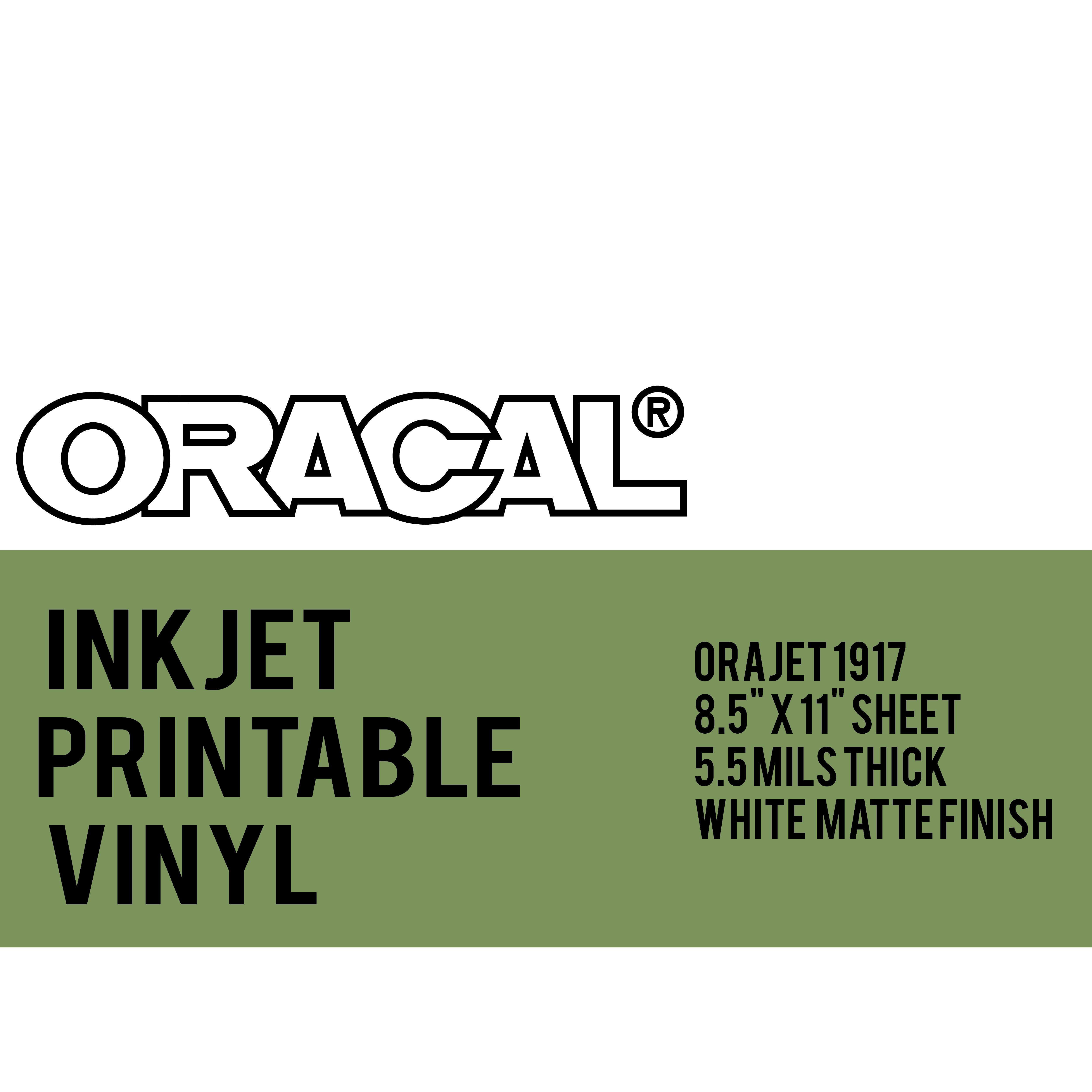 graphic regarding Oracal Inkjet Printable Vinyl titled Oracal Inkjet Printable Long-lasting adhesive Vinyl As a result of The 8.5 x 11 inch Sheet