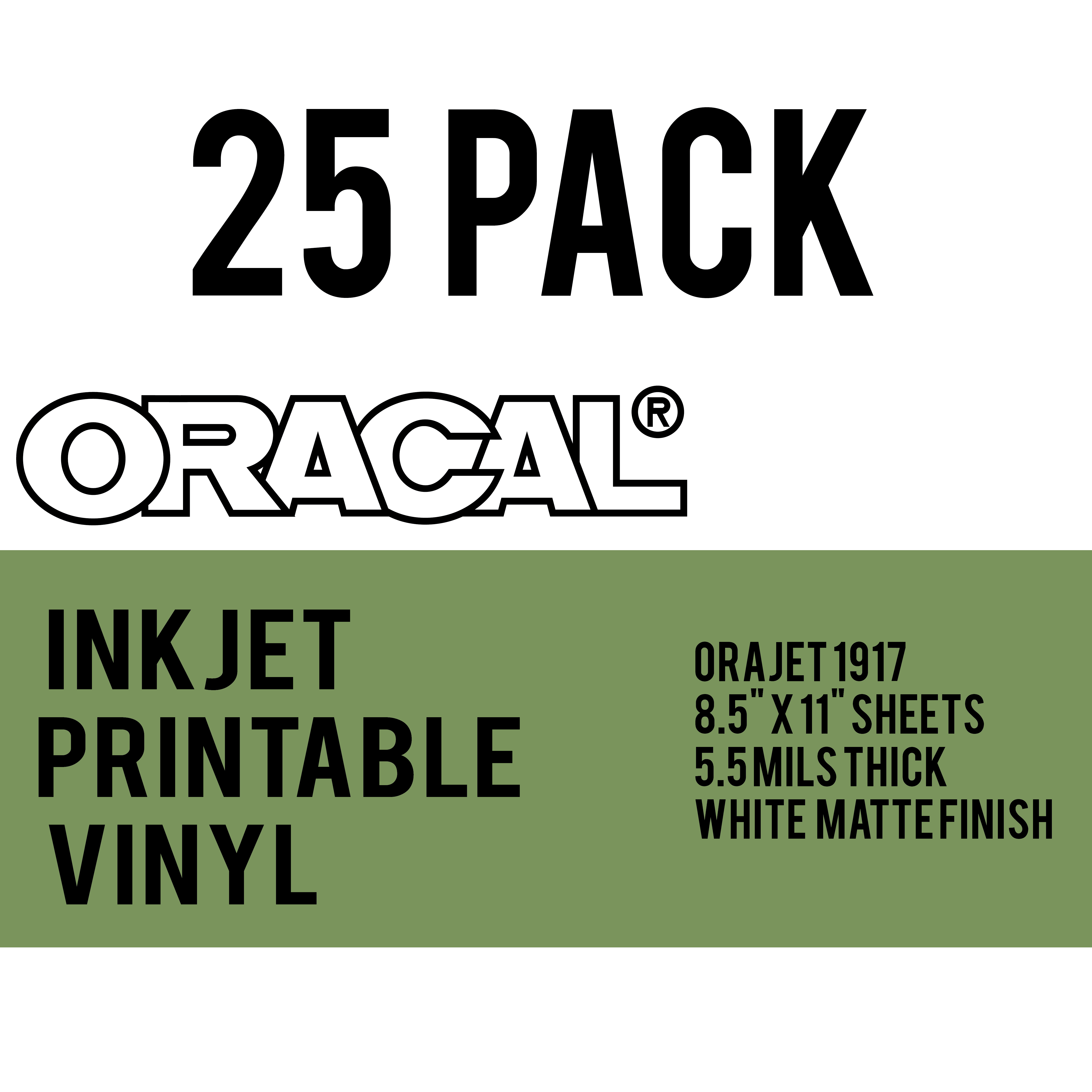 photo about Printable Adhesive Vinyl identified as Oracal Inkjet Printable Lasting adhesive Vinyl Through The 8.5 x 11 inch - 25 sheet pack