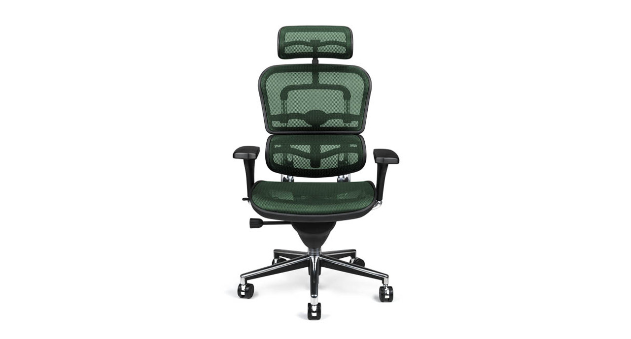 Raynor Ergohuman Chair Me7erg Mesh With Headrest - Curves-button-back-chair-in-chocolate-brown-and-green