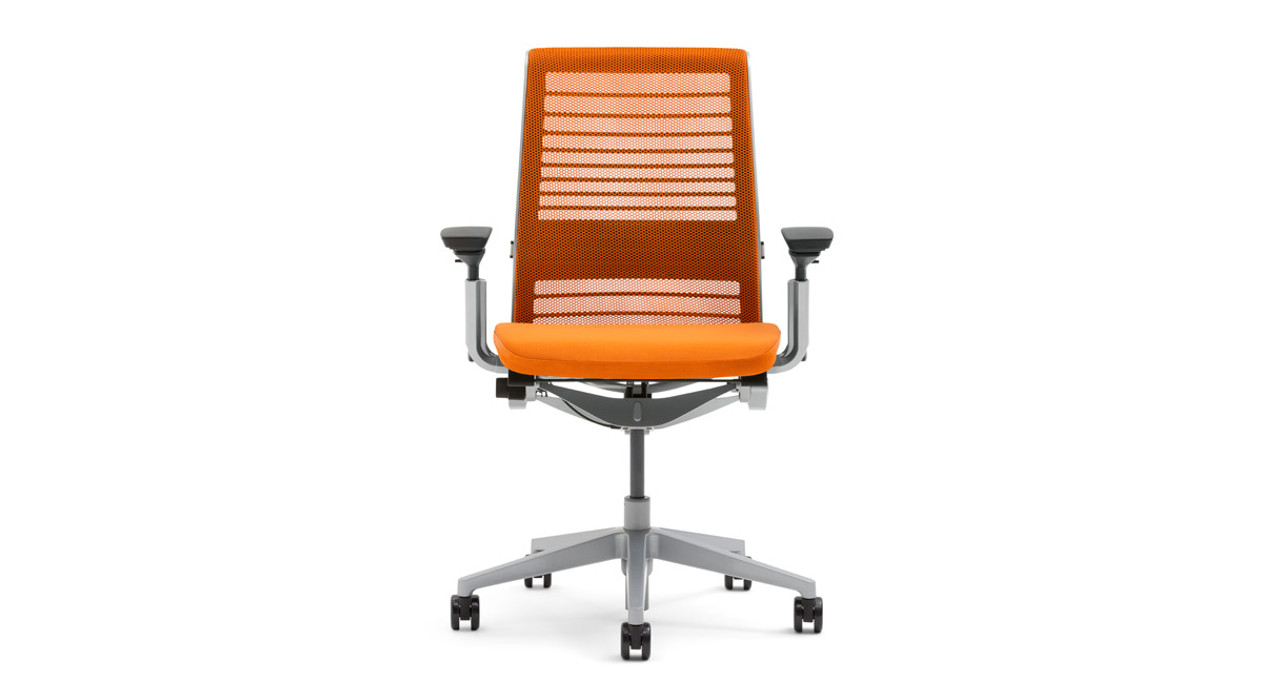 Mesh Back Steelcase Think Office Chair in New Red Fabric