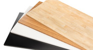 "Choose your own desktop, with solid Rubberwood, 1"" thick Bamboo, or black and white Eco styles."