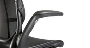 Armrests attach to the back of the chair in order to easily move with the user