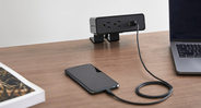 An all-in-one desktop power system that provides easy access to connectivity all day long