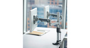 Utilizes Humanscale's legendary M2 and M8 monitor arm technology