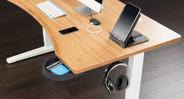 60x30 Bamboo Curve Desk on a White UPLIFT V2 Standing Frame