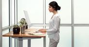 60x30 Bamboo Rectangular Desk on a Gray UPLIFT V2 Standing Desk Frame