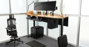 72x30 Bamboo Rectangular Desk on a Black UPLIFT V2 Standing Desk Frame