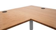 Close up of the corner on the L-Shaped Bamboo Desk