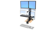The system allows any user to receive all the benefits of a sit to stand workstation