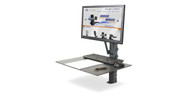 Separate monitor and keyboard platform mounts allow for customizable display and keyboard spacing