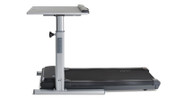 """1"""" thick laminate worksurface is height-adjustable and large enough to support most workplace electronics and includes a cable management tray"""