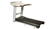 "Desk features electric height adjustment to fit users anywhere from 4'10"" to 6'6"" tall"