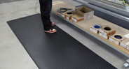 Redstop treatment prevents mat from slipping on hard floors