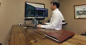 Custom Desk Spotlight Uplift 950 L Shaped Standing Desk In Pine