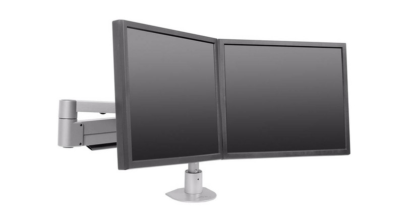 "Adjust base height of monitors on pole in 1"" increments"