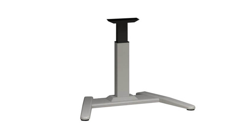 Extruded aluminum column has nylon glides for stability and smooth height adjustability