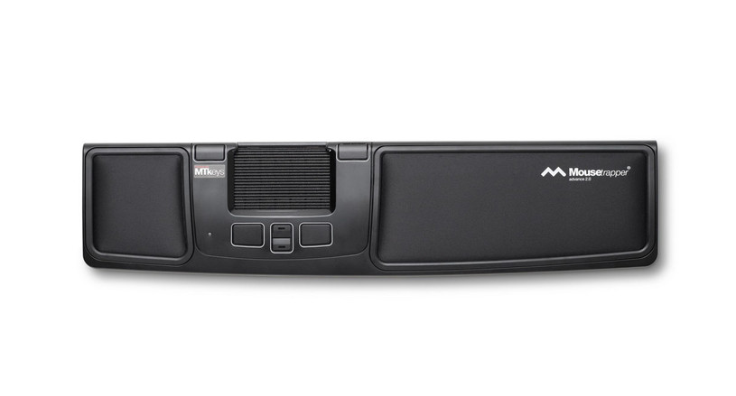 The Mousetrapper Advance Mouse 2.0 features a rollerpad, programmable function keys, scroll buttons, and wrist supports.