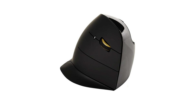 The Evoluent Vertical Mouse C: Right Hand Wireless Mouse's unique design features a larger lower lip to rest your hand, providing a more relaxed grip