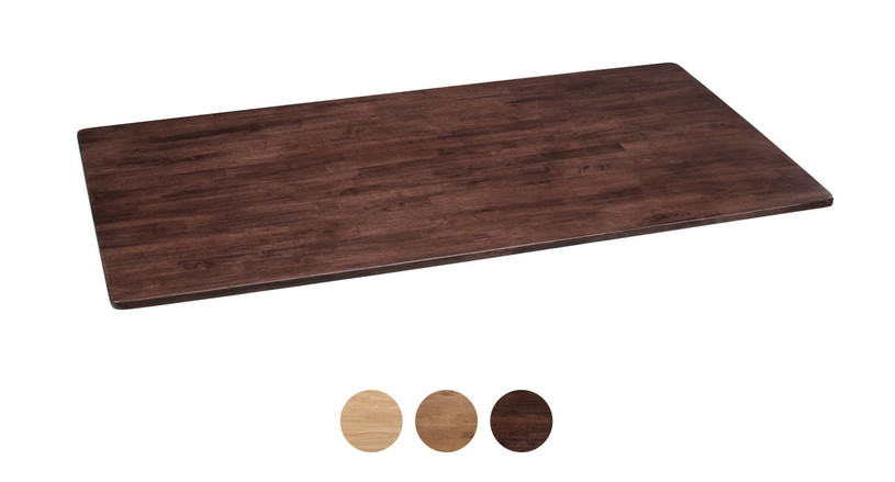 This desktop is available in natural, light brown, and dark brown options