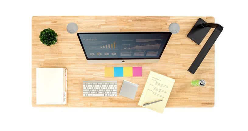 "60"" x 30"" Natural rubberwood desktop"