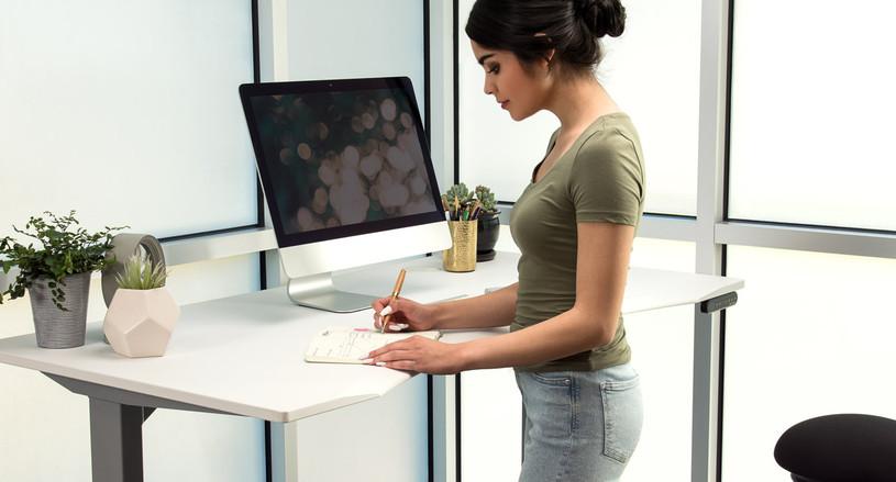 60x30 White Eco Curve Standing Desk