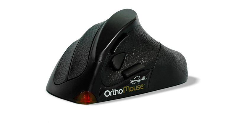 The Orthovia OrthoMouse Wireless Ergonomic Mouse comes with mix-and-match adapters that enable users to change size of the mouse