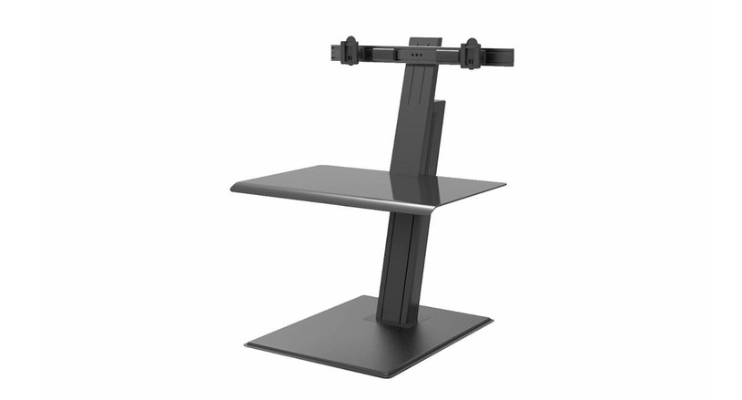 The QuickStand Eco Height Adjustable Workstation in sleek black uplifts your style instantly and your workstation in seconds