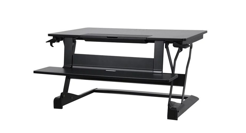 Instantly convert any space with the WorkFit TLE Sit-Stand Desktop Workstation