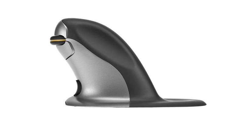 "The Penguin Vertical Mouse - Wireless Large feature an ambidextrous design with central ""bow-tie"" switch"