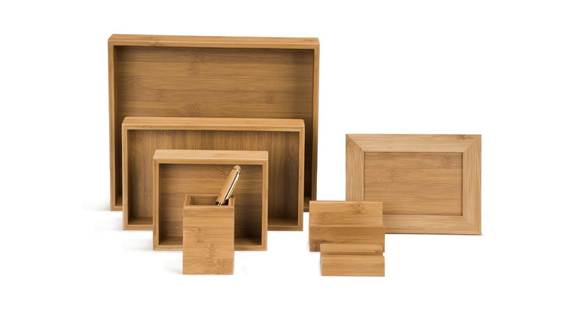 The 8 piece Bamboo Desk Organizer Set by UPLIFT Desk in all its glory