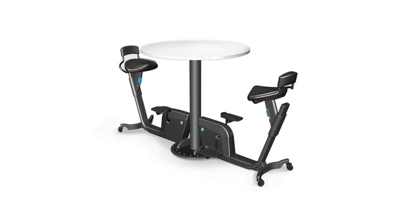 The LifeSpan Bike Table Duo includes two stationary bikes and a circular table.