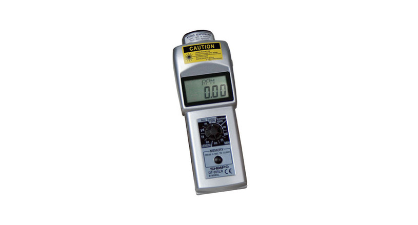 The Shimpo Contact/ Non-Contact Tachometer is offered with a 12mm LCD display.