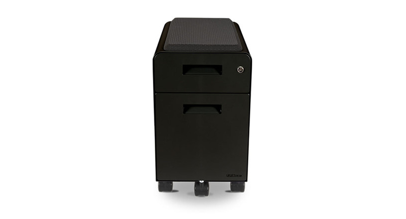 Implement better office storage with the Narrow 2-Drawer File Cabinet with Seat, Rolling by UPLIFT Desk
