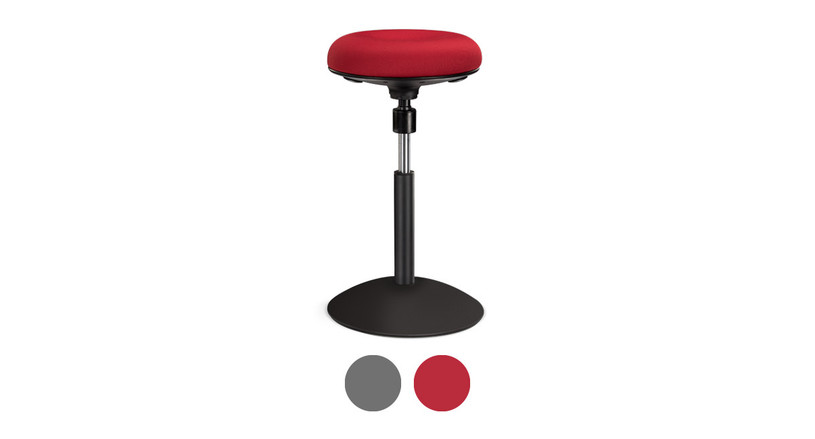 Add this active stool to your office seating in gray or red