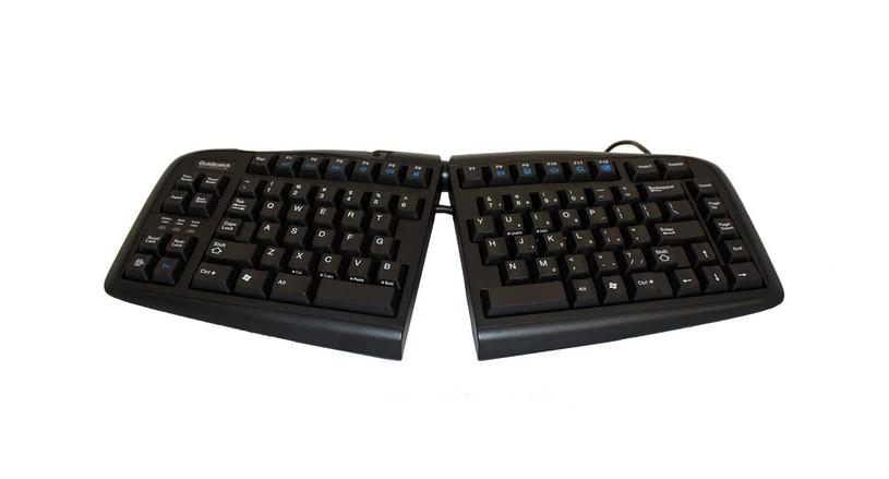 The Goldtouch V2 Adjustable Ergonomic Keyboard's Smart Fit Adjustability design enhances keyboard use for customizable adjustment