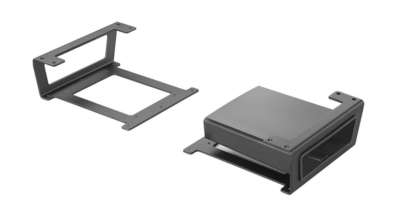 An UPLIFT Track Spacer mounts to your under-desk via mounting hardware