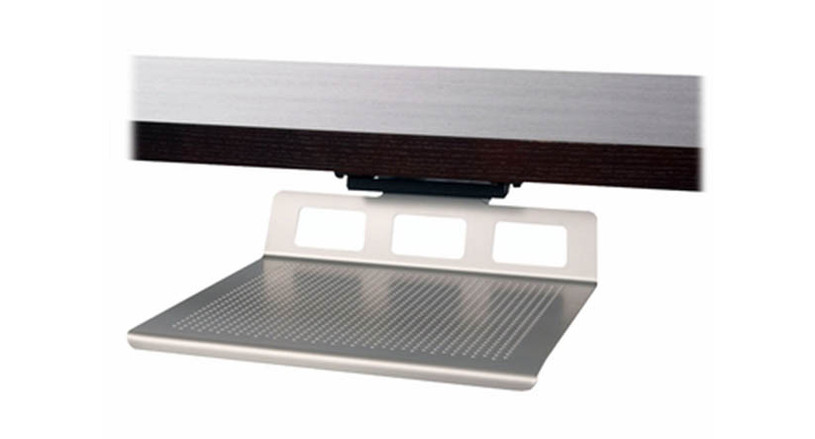 Large platform will easily hold a laptop and docking station