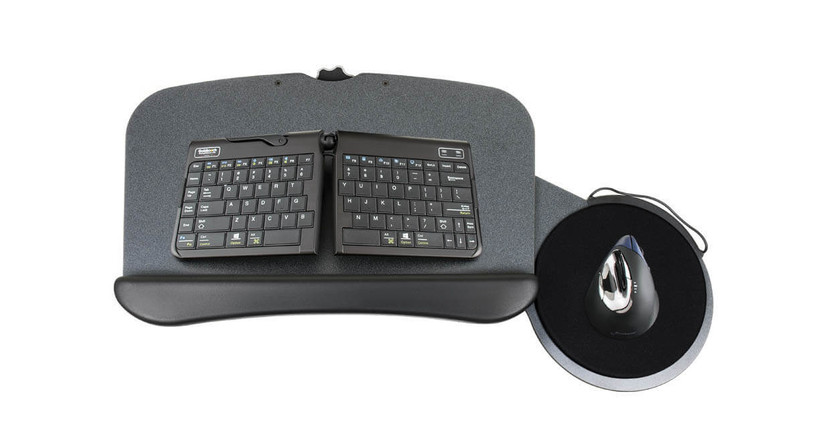 The UPLIFT Switch Keyboard Tray's mousing platform easily slides through the tray from left to right for ambidextrous use