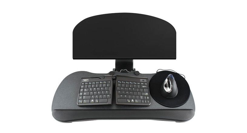 The UPLIFT Keyboard Tray Kit for Corner L-Shaped Desk features a low profile steel sleeve that fits most work surfaces