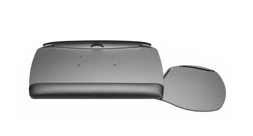 Swivel-out mouse platform stores underneath keyboard when not in use