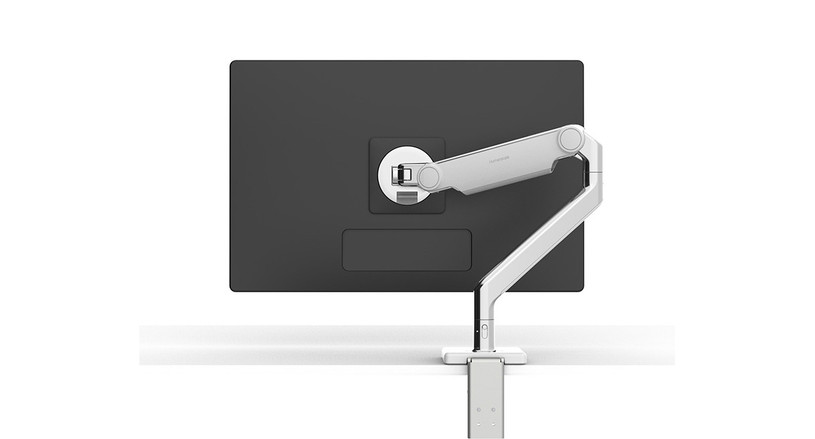 The Humanscale M2.1 Monitor Arm is available in three color configurations: polished aluminum with white trim, silver with gray trim, or black with black trim