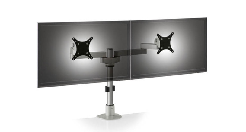 The Innovative Side-by-Side Dual LCD Monitor Arm uplifts dual monitor workstations quickly