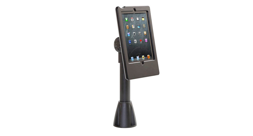 iPad stand with easy to adjust through-counter mount