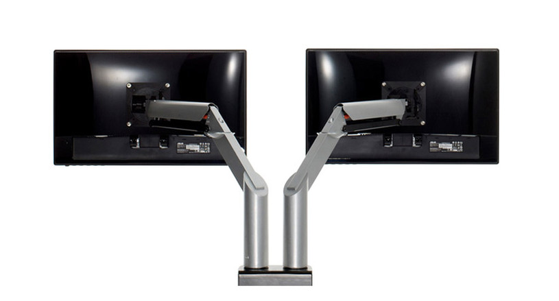 Twin gas cylinder monitor arms provide effortless height and depth adjustment