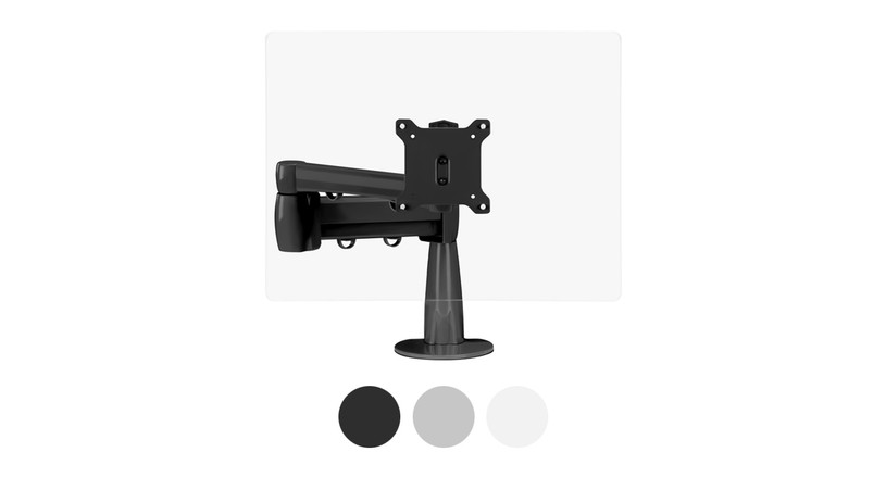 The Range Single Monitor Arm comes in three color options: black, gray, and white