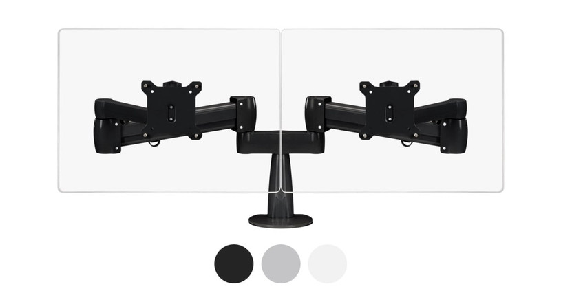 The Range Dual Monitor Arm is available in black, gray, and, white finishes